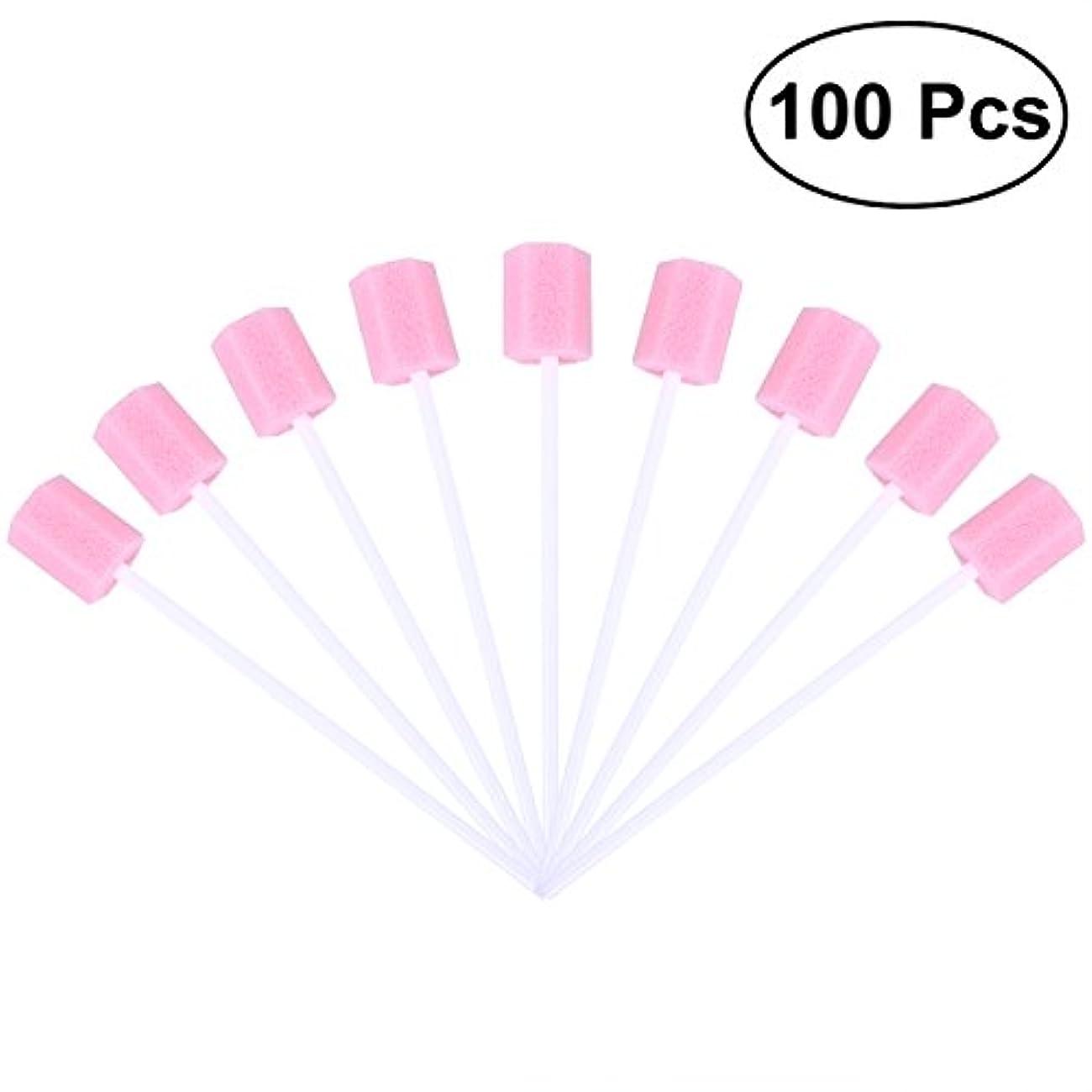 面倒陽気な離れたROSENICE 使い捨て口腔ケアスポンジスワブ歯口洗浄スワブ100個(ピンク)