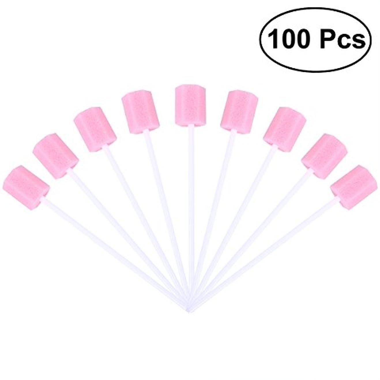 マイク木材前件ROSENICE 使い捨て口腔ケアスポンジスワブ歯口洗浄スワブ100個(ピンク)