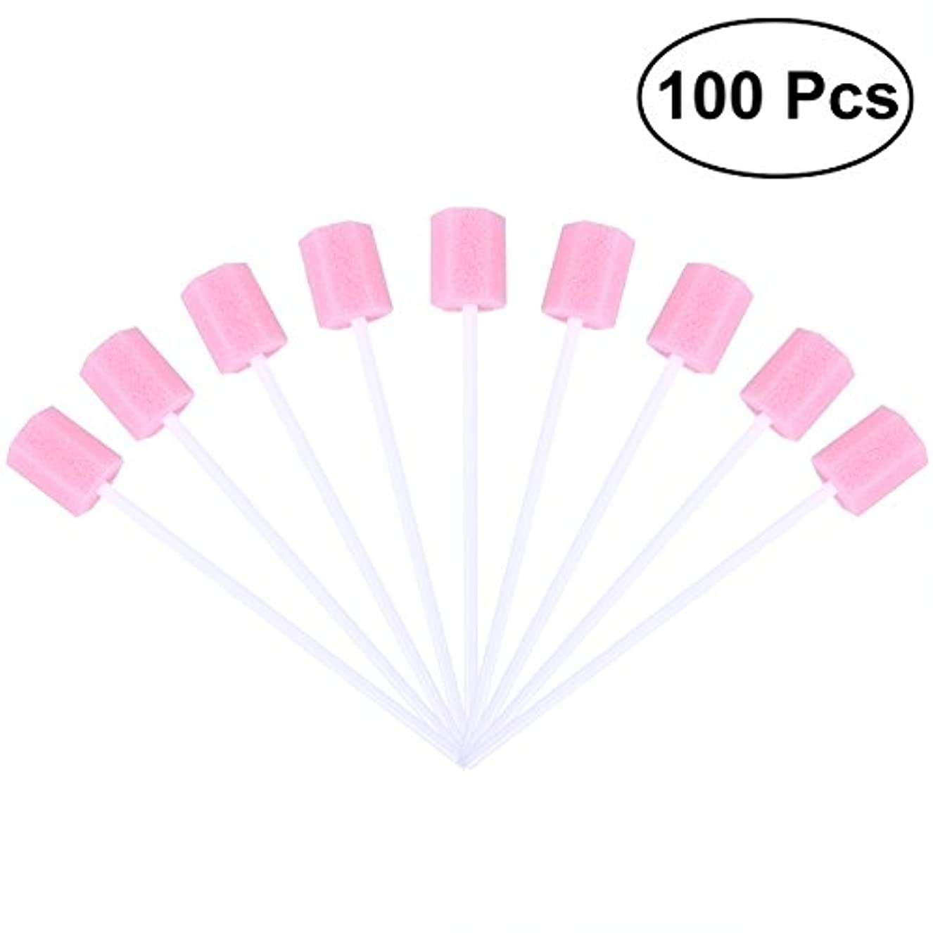 揺れる涙が出る定規ROSENICE 使い捨て口腔ケアスポンジスワブ歯口洗浄スワブ100個(ピンク)