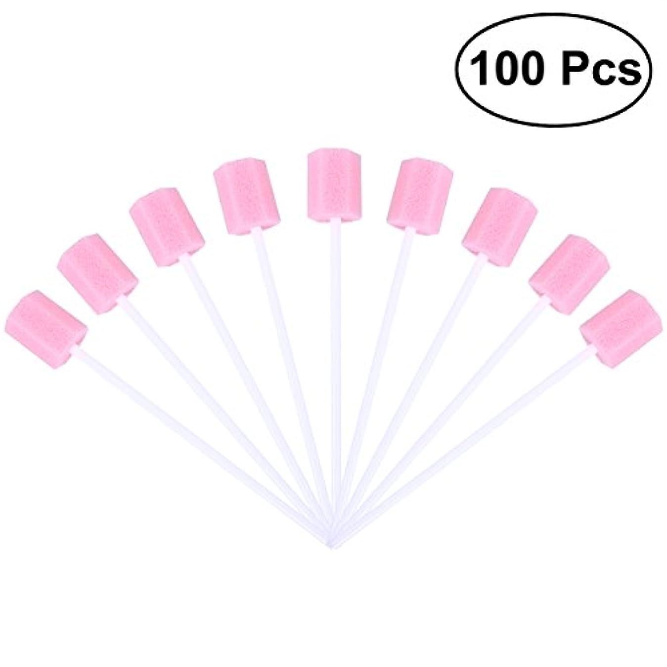 スタックイーウェル反発ROSENICE 使い捨て口腔ケアスポンジスワブ歯口洗浄スワブ100個(ピンク)