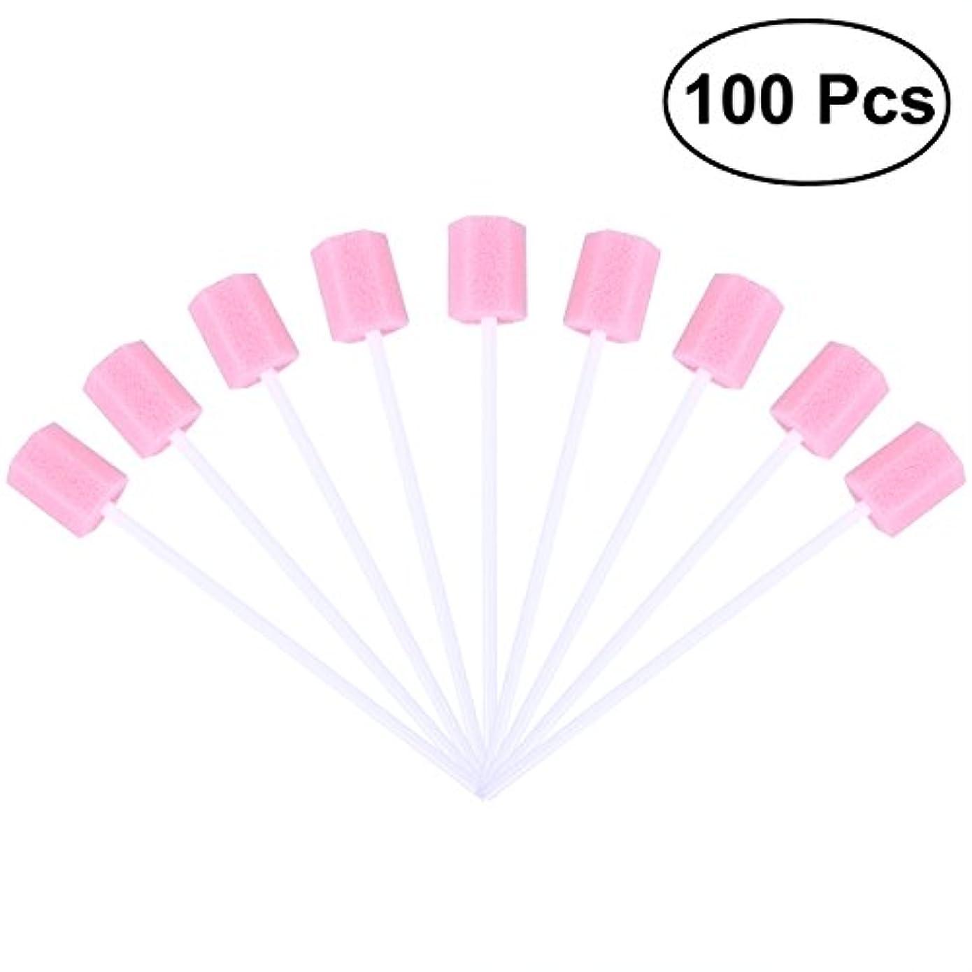 継続中裏切り者閉塞ROSENICE 使い捨て口腔ケアスポンジスワブ歯口洗浄スワブ100個(ピンク)