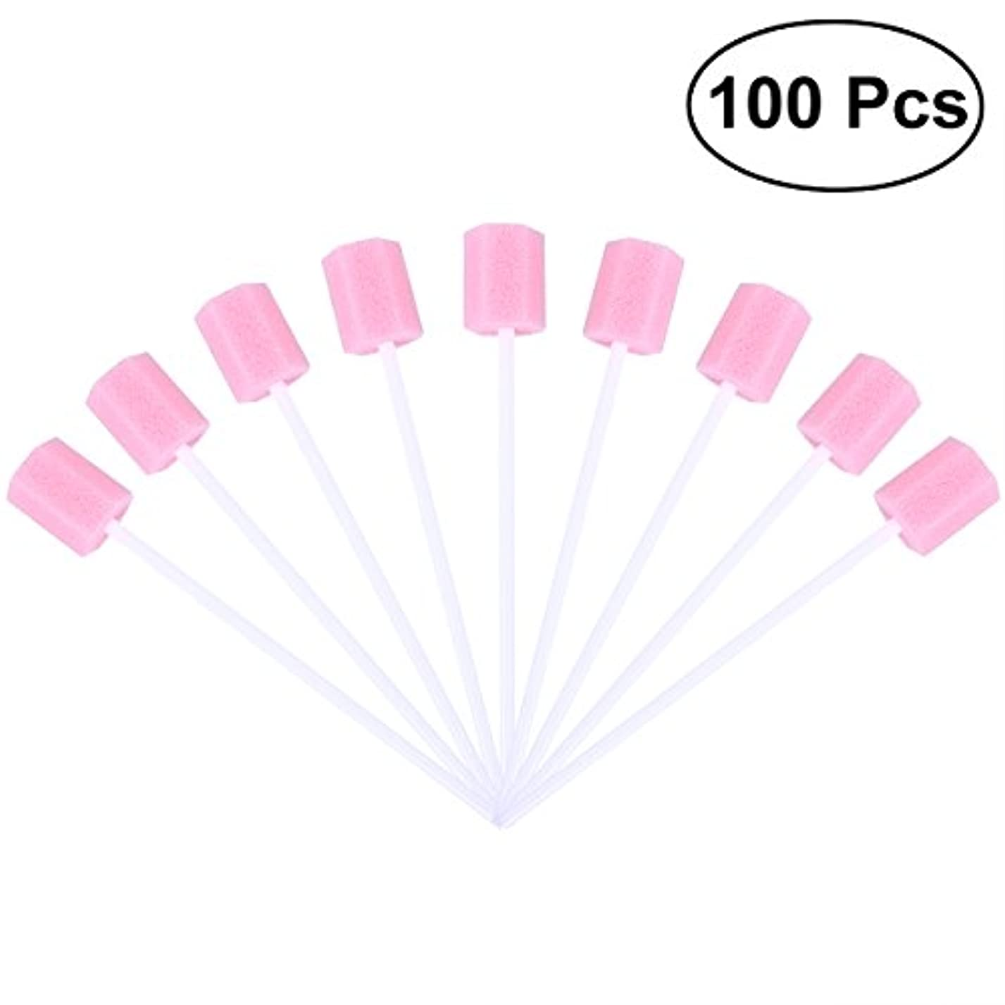 ドナウ川シンプルさディンカルビルROSENICE 使い捨て口腔ケアスポンジスワブ歯口洗浄スワブ100個(ピンク)