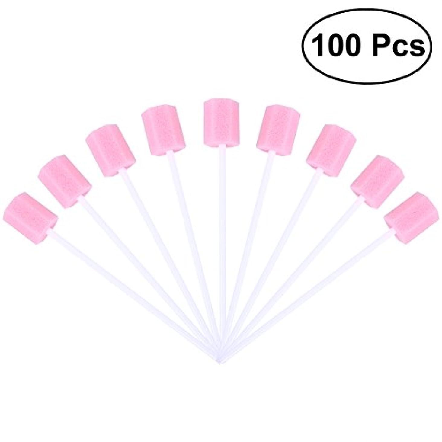スライス結論定説ROSENICE 口内スポンジブラシ 使い捨て 口腔ケア 100枚(ピンク)