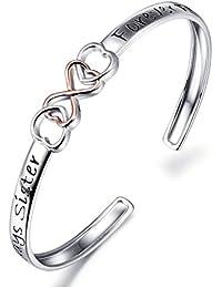 Two Tone 925 Sterling Silver Always Sister Forever Friend Infinity Love Bracelet 7'