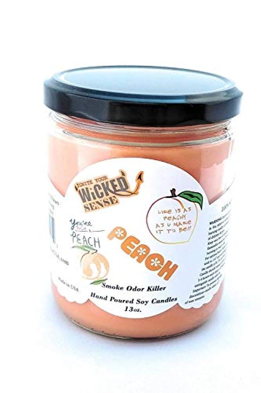 砂漠簡単に説教するWicked Sense Peach Scented Candle大豆ワックス) 13 oz オレンジ