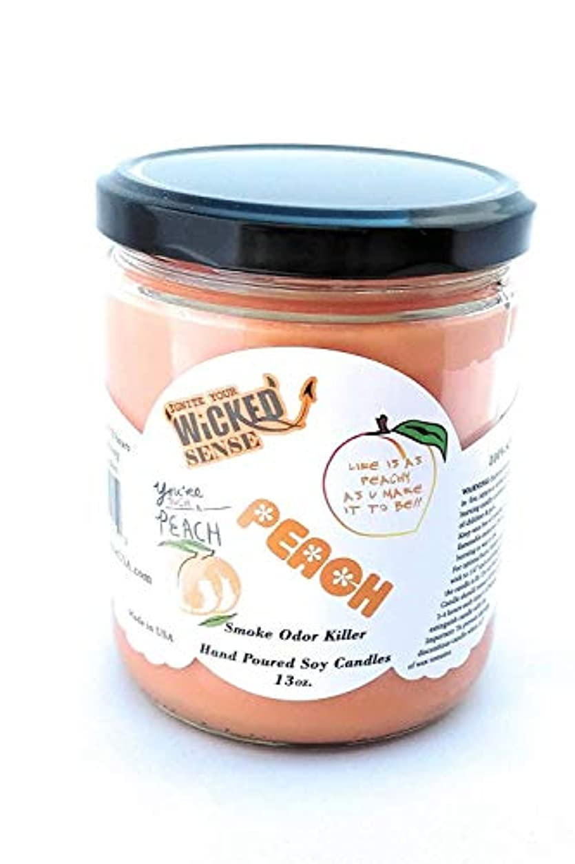 Wicked Sense Peach Scented Candle大豆ワックス) 13 oz オレンジ