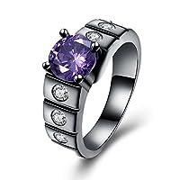Rockyu ブランド ジュエリー リング レディース ステンレス ブラック 紫 アメシスト 18 指輪 上品