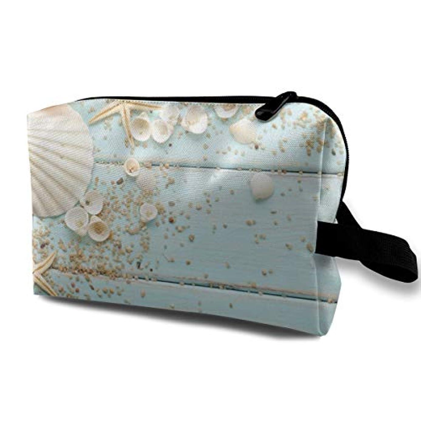 マラウイ解決するコーチStarfish Shells Pebbles Decoration 収納ポーチ 化粧ポーチ 大容量 軽量 耐久性 ハンドル付持ち運び便利。入れ 自宅・出張・旅行・アウトドア撮影などに対応。メンズ レディース トラベルグッズ