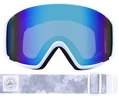 ICEPARDAL(アイスパーダル) スノーボード ゴーグル フレームレス レディース 平面ワイドレンズ 曇り止め ダブルレンズ 簡単脱着 UVカット99 IBP-892H ホワイト/クラウドW(B) FREEサイズ スキーゴーグル スキー スノーゴーグル