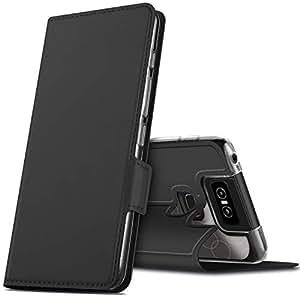Asus Zenfone 6(ZS630KL) ケース KuGi Asus Zenfone 6(ZS630KL) カバー スタンド機能 横開き 軽量 薄型 耐衝撃 高級 PUレザー 折り畳み式 Asus Zenfone 6(ZS630KL) 手帳型ケース 全面保護カバー カード収納 ブラック