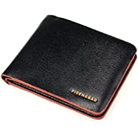 Lookatool New Men's Leather Bifold Credit/ID Cards Holder Slim Wallet (Brown+Black)
