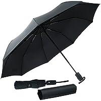 折りたたみ傘 晴雨兼用 大きいサイズ ワンタッチ自動開閉 9本骨 頑丈 しっかり 撥水 耐風 106cm高密度NC布製 収納ケース付き 軽量 ブラック