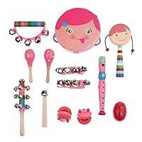 B Baosity 音楽玩具 パーカッションセット 子供 おもちゃ シェーカーベル 打楽器 13点セット 贈り物 全2色 - ピンク