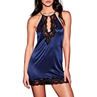 AnloveKiss Women Satin Lingerie Lace Halter Chemise Nightgown Sexy Full Slips Sleepwear