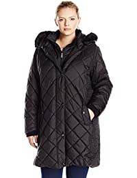 Larry Levine Women's Plus Size 3/4 Diamond Quilted with Bib and Ff Trimmed Hood Black 3X [並行輸入品]