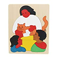 Votabell 子供 木製 パズル 動物 多層立体パズル おもちゃ 誕生日 プレゼント ベビー おもちゃ (家族)