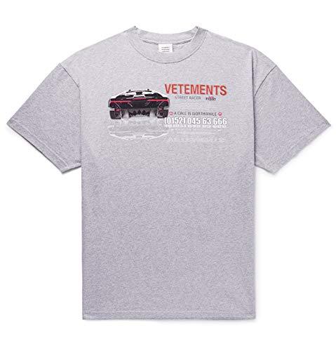 (ヴェトモン) Vetements Oversized Printed Melange 特大プリントメランジュコットンジャージーTシャツ Jersey T-Shirt (並行輸入品)