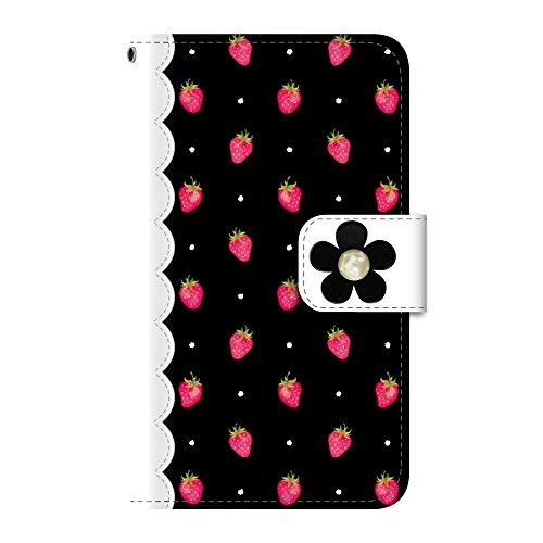 Plus-S iPod touch 第5・第6・第7世代 手帳型ケース デコパーツ いちご ストロベリー ブラック(黒) PUレザー csd0008-09