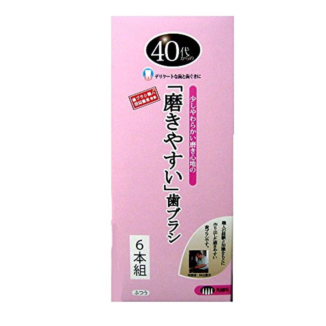 手書きプログラム言い聞かせるライフレンジ 磨きやすい歯ブラシ 40代から ふつう LT-115 6本組 4560292169909