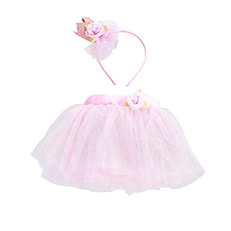 入射イブニング累積LUOEM 女の子TutuスカートセットヘッドバンドプリンセスガールTutu服装Baby Girls Birthday Outfit Set(ピンク)