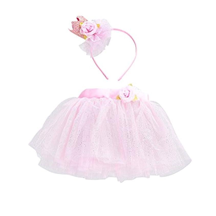 海峡捨てる廊下LUOEM 女の子TutuスカートセットヘッドバンドプリンセスガールTutu服装Baby Girls Birthday Outfit Set(ピンク)