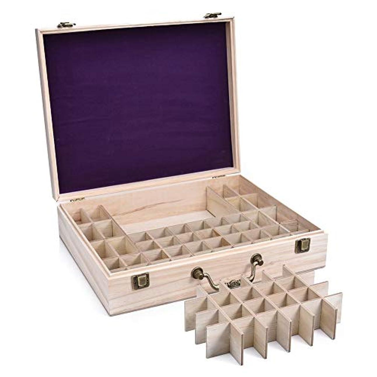 奇妙な感心するポークエッセンシャルオイル収納ケース 精油収納ボックス 大容量 68本収納可能 取り外し可能 木製 環境に優しい 5ml?10ml?15ml?115mlの精油ボルトに対応 junexi