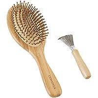 Coniffer 竹ブラシ ヘアブラシ パドルブラシ 櫛 頭皮/肩/顔マッサージコーム ブラシクリーナー付き 美髪ケア 血行促進 薄毛改善