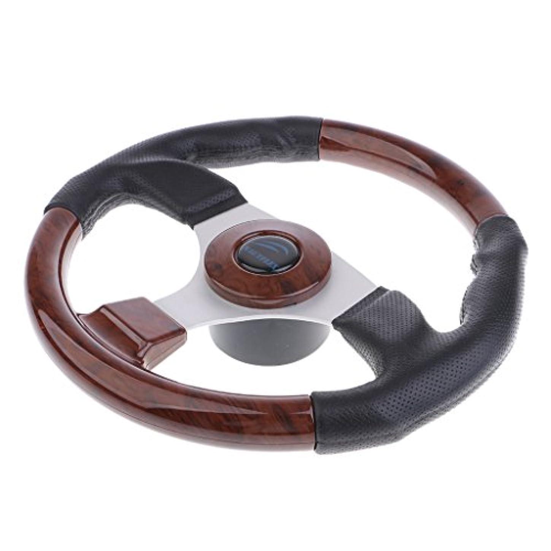 Homyl 320mm PVC レザー レーシングカー/ボート用 ハンドル ステアリングホイール 木製 ホーンボタン付き