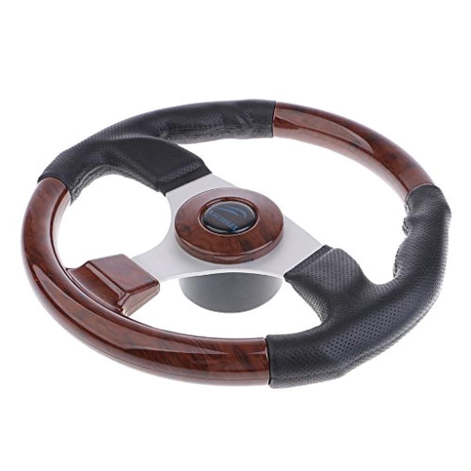 英語の授業がありますたまに小切手Perfk ボートアクセサリー 320mm ステアリングホイール ウッドクリップ PVC レザーカバー 木製 センターキャップ