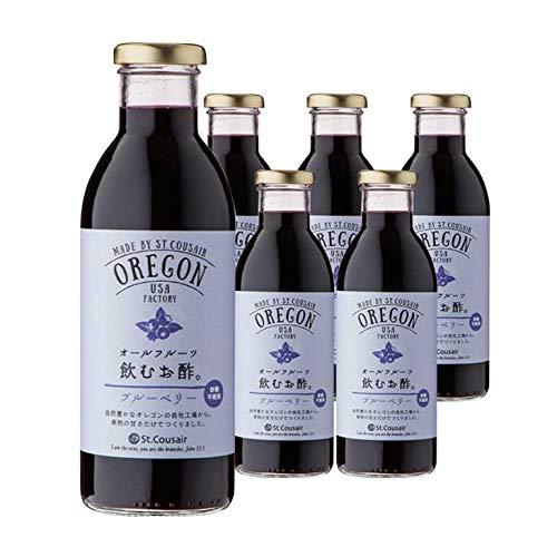 【まとめ買い】サンクゼール OREGONオールフルーツ飲むお酢。 ブルーベリー 460ml×6本