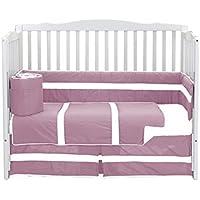 Baby Doll Bedding Solid Stripe Crib 4 Piece Bedding Set Pink/White [並行輸入品]