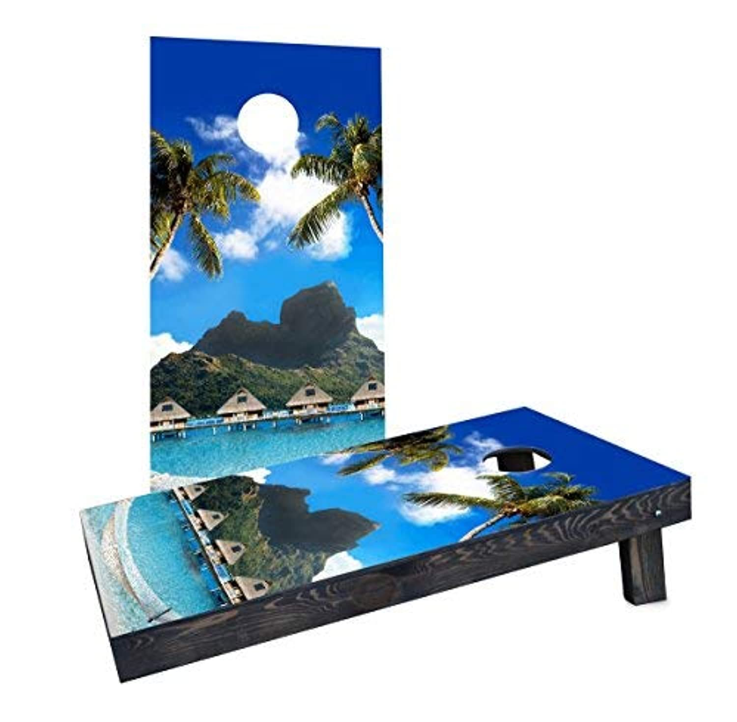 Custom Cornhole Boards Incorporated CCB61-2x4-AW-RH Tropical Paradise Cornhole Boards [並行輸入品]