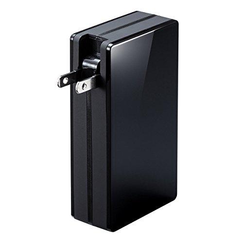 サンワダイレクト モバイルバッテリー ACプラグ内蔵 大容量 10000mAh 最大2.1A 2ポート iPhone iPad 対応 ブラック 700-BTL028BK