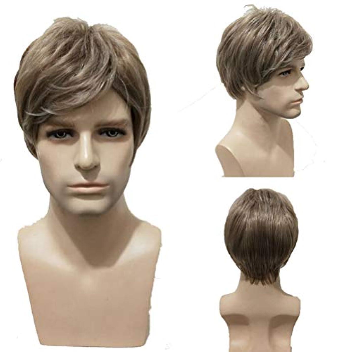 誤解させるニッケル正気人のかつら150%密度合成耐熱ショートブラジル人毛ウィッグブラウン28cm