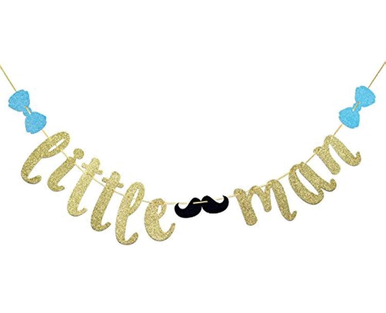 justparty Little Manバナーを口ひげと弓ネクタイ、少年ベビーシャワーバナー。Boy 1st誕生日バナー( Gold Glitter )
