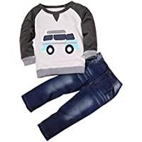 DaySeventh Boys' Outfit Clothes Car Print T-Shirt Tops+Long Jeans Trousers 1Set