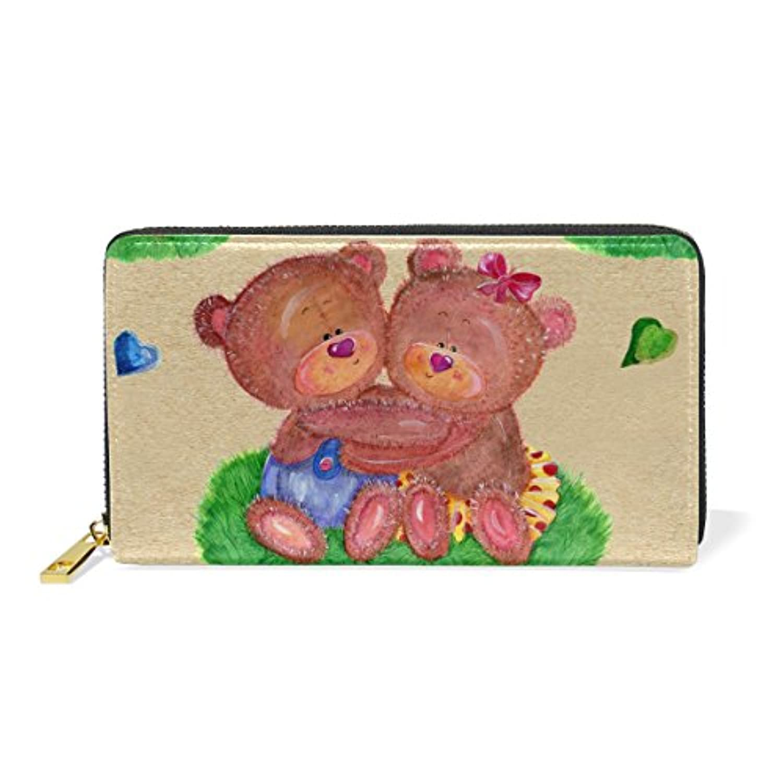 財布 レディース 長財布 大容量 かわいい 熊柄 クマ 可愛い 漫画 絵柄 アニマル 動物 ファスナー財布 ウォレット 薄型 本革 型押し 小銭入れ プレゼント用