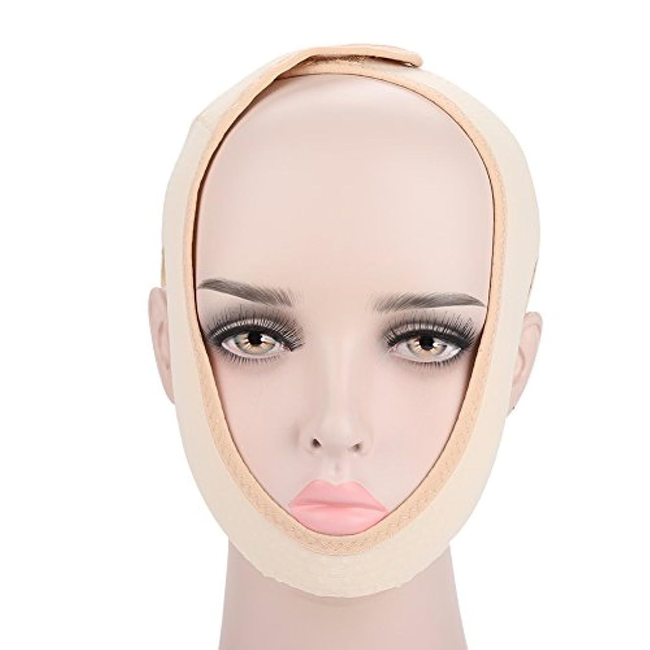 セータークロニクル普通の顔の輪郭を改善するための顔の痩身マスク、通気性と伸縮性、二重あごを和らげ、顔の手術とリハビリ