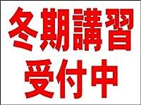 シンプル看板 「冬期講習受付中(赤)」<スクール・塾・教室> Mサイズ 屋外可(約H60cmxW45cm)