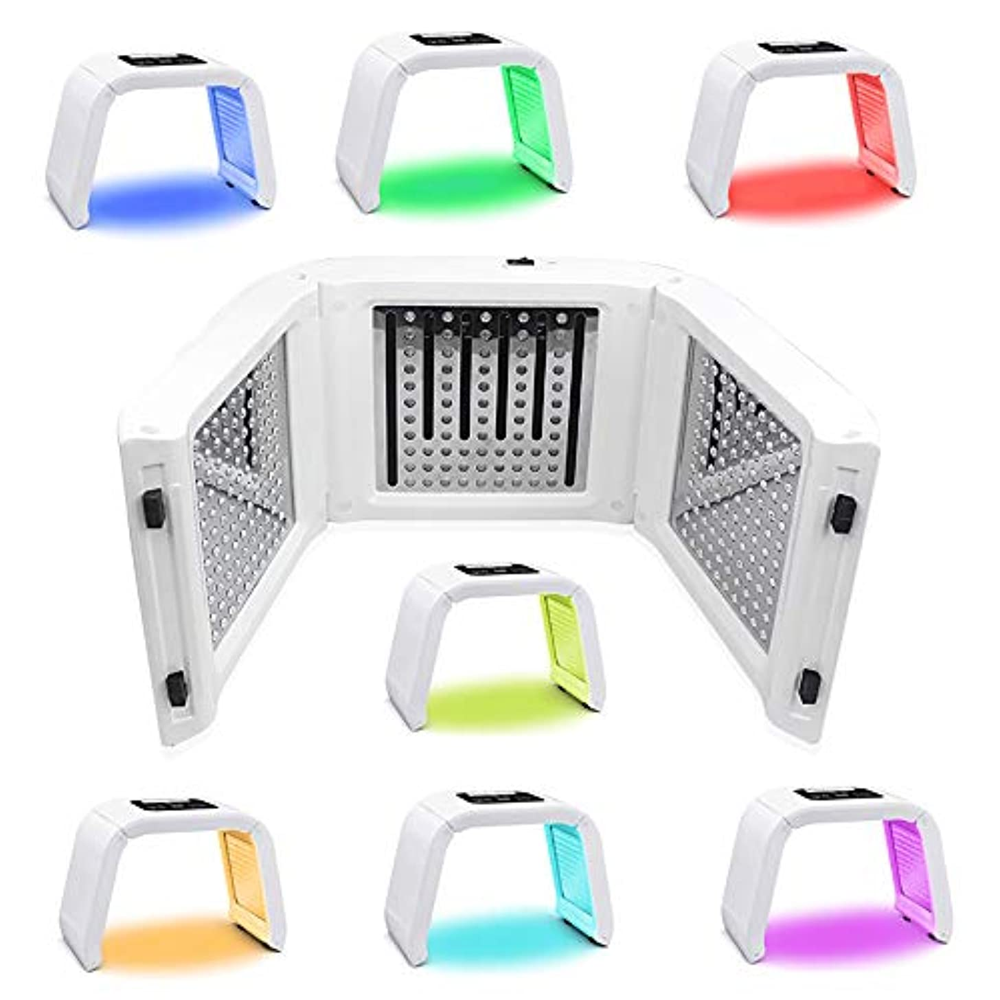 欺大惨事のスコア7色LEDマスク光線療法美容機器光線力学マスク機器分光計肌の若返りデバイス,7