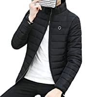 Fly Year-JP メンズパディングコート冬スタンドカラースリムフィットキルトジャケット Black XS