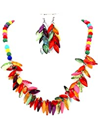 Fashion Jewellery Girls Colourful Beads Party Women Necklace and Earrings Set (Multi-Color)