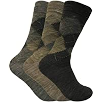 3 Pack Mens Thin Warn Lambs Wool Blend Argyle Patterned Dress Business Socks