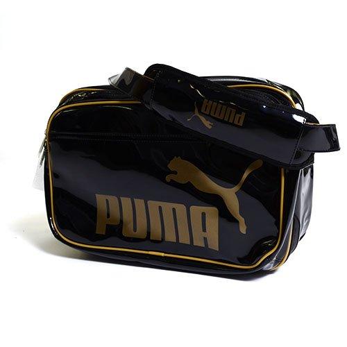 PUMA(プーマ) エナメルバッグ TS シャイニータイプA ショルダー Lサイズ 35L ブラック/ゴールド 072518-01