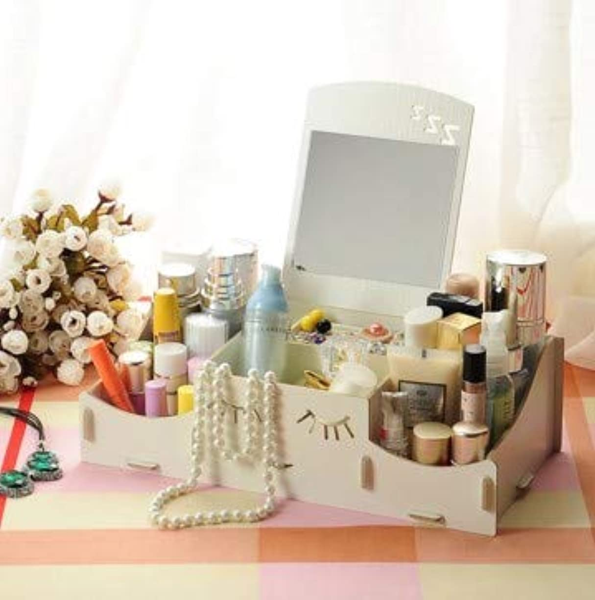 告白する荒れ地バイオリンスマイリー木製クリエイティブ収納ボックス手作りデスクトップミラー化粧品収納ボックス化粧品収納ボックス (Color : ホワイト)