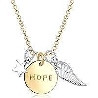 Elli Women Hope Stars Wings Talisman Bi-Color 925 Sterling Silver Necklace