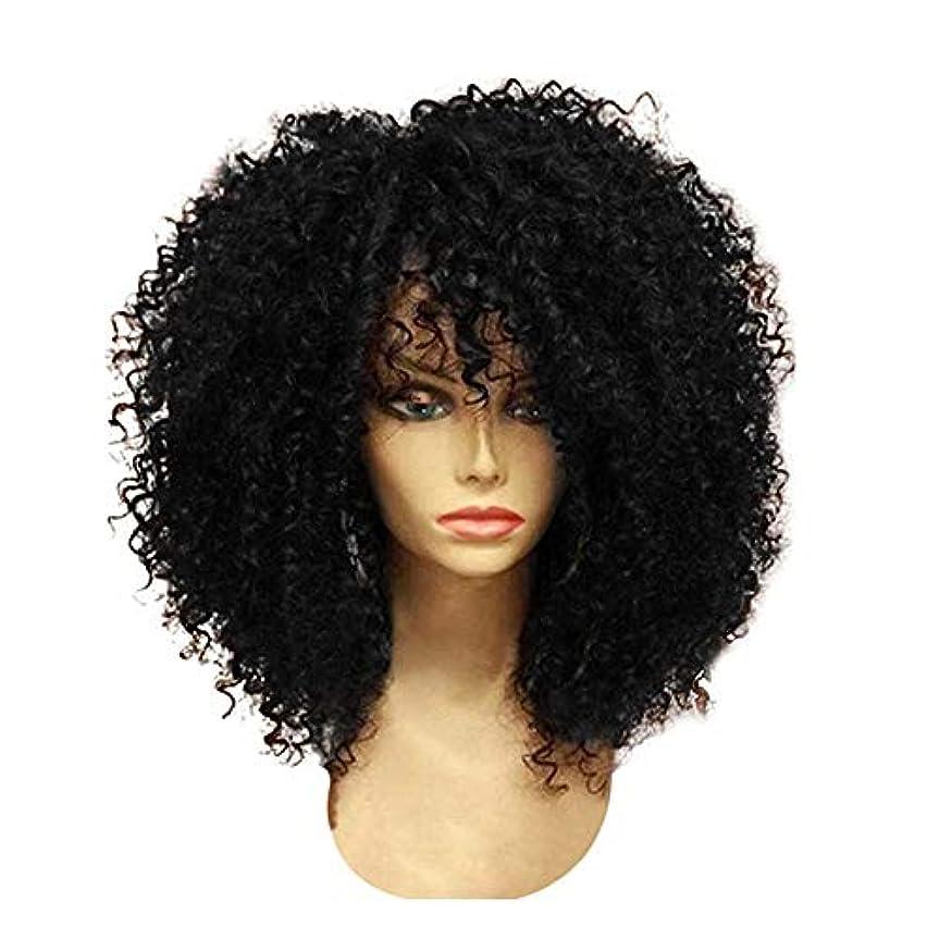 エキスパートうっかりストラップYOUQIU 前髪ウィッグ合成ブラックとブラウンかつらと女性ショートのクイック織り合成カーリーウィッグ (色 : 黒, サイズ : 15.7