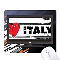私はイタリア愛ハートイラストの愛の言葉 ノンスリップラバーマウスパッドはコンピュータゲームのオフィス