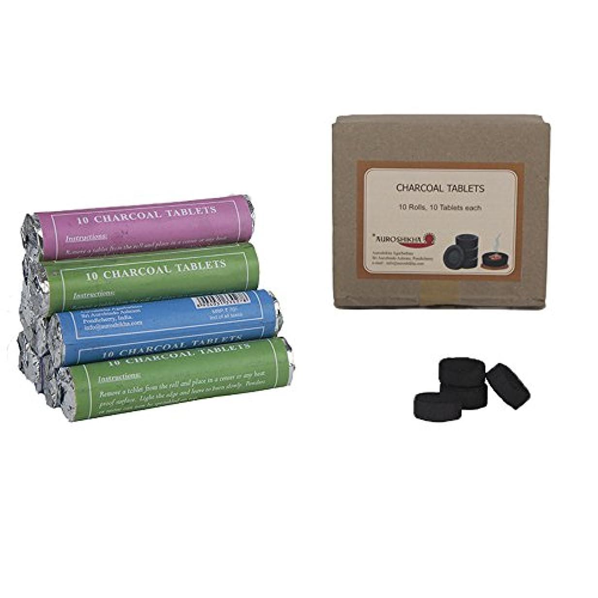 失望操る貴重なAuroshikhaチャコールタブレットfor Burning Dhoop /お香のセット – 10 Rolls ( 100 Tablets )