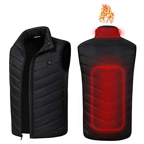 電熱ベスト usb加熱 バッテリー給電 電熱ジャケット 日本製のマイクロカーボンファイバーヒーター内蔵 温度3段階調整 作業着 バイク 釣り スキー 防寒ウェア 水洗い可 男女兼用 (L, ブラック(ベスト))
